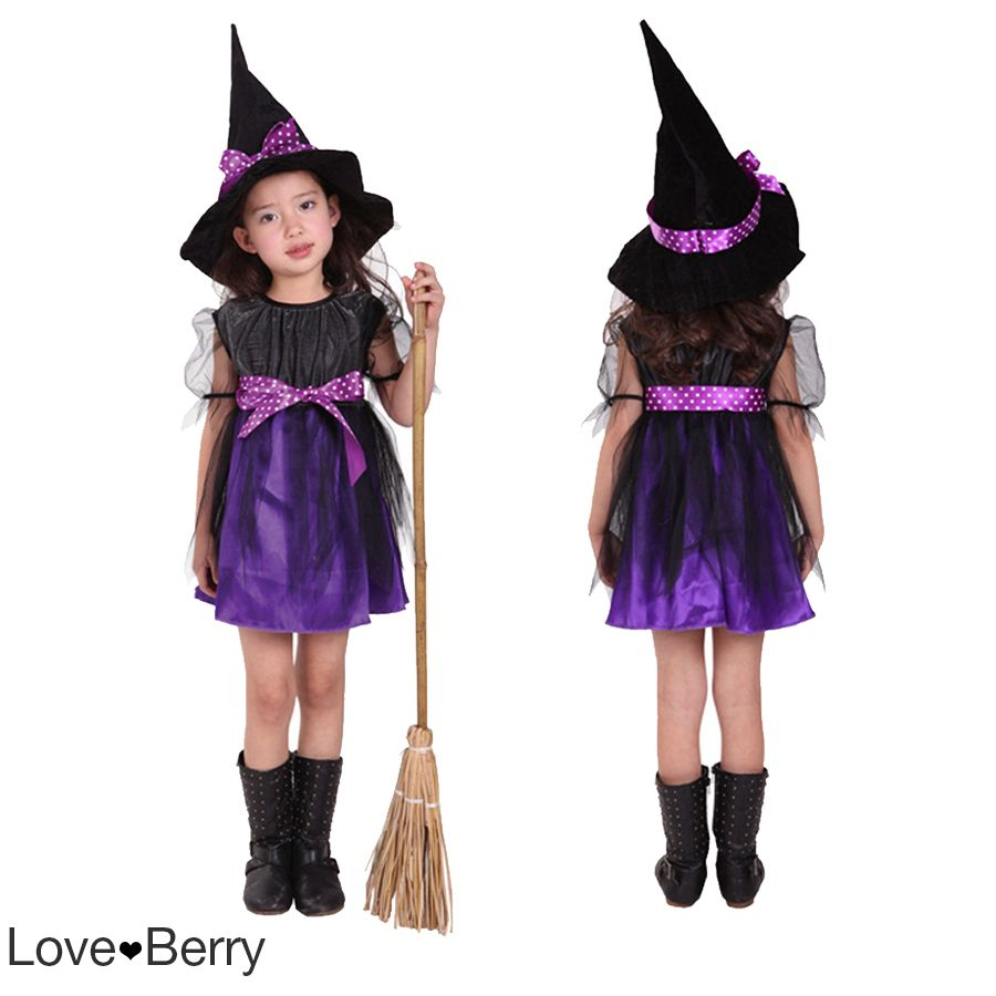 Halloween Kid Witch Costume with Cap and Besom, Orange
