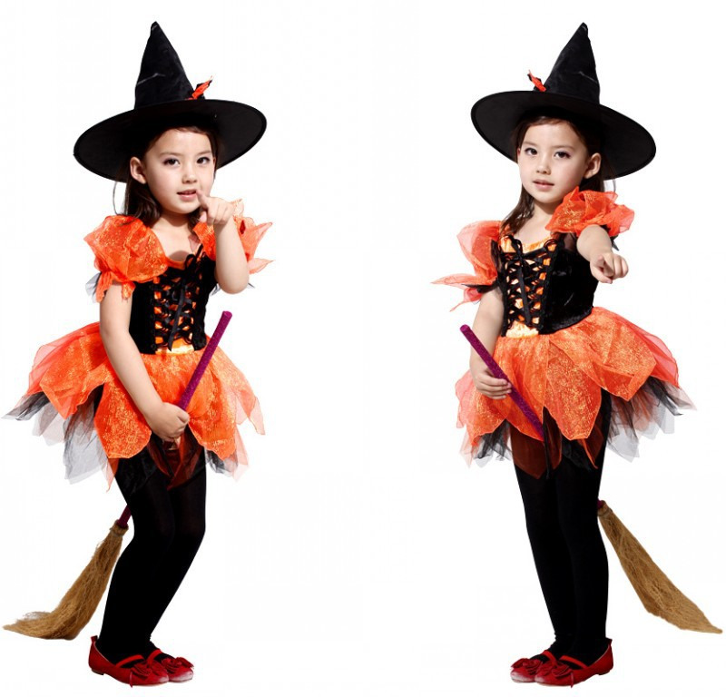 Halloween Kid Lovely Witch Costumes with Cap фото