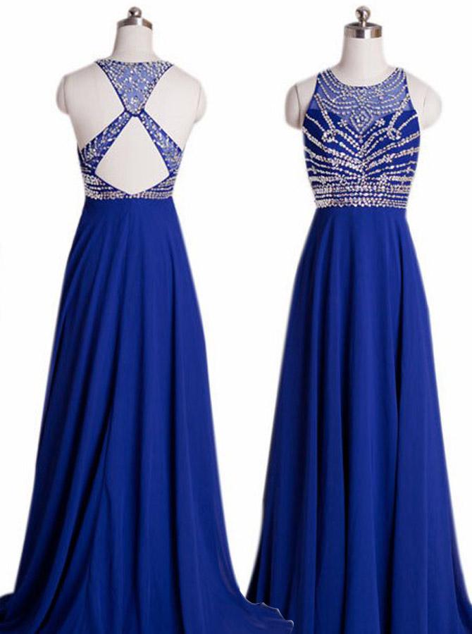 Crew Neck Sleeveless Beading Criss-cross Back Prom Dress-Floor-length Chiffon Royal Blue Evening Dress фото