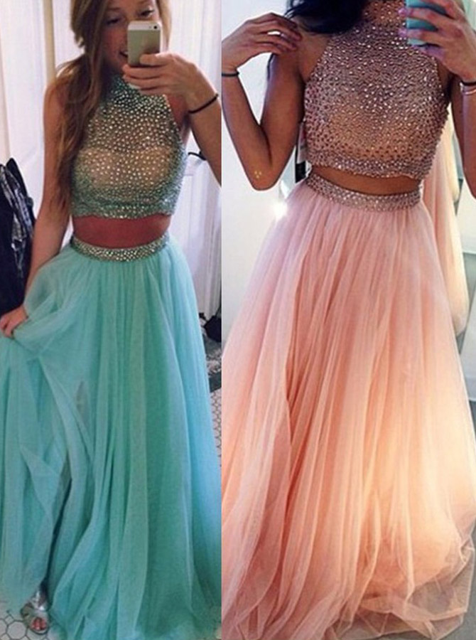 Gorgeous Two-pieces Beading Halter Neck Prom Dress-Tulle Sleeveless Long Prom Dress фото