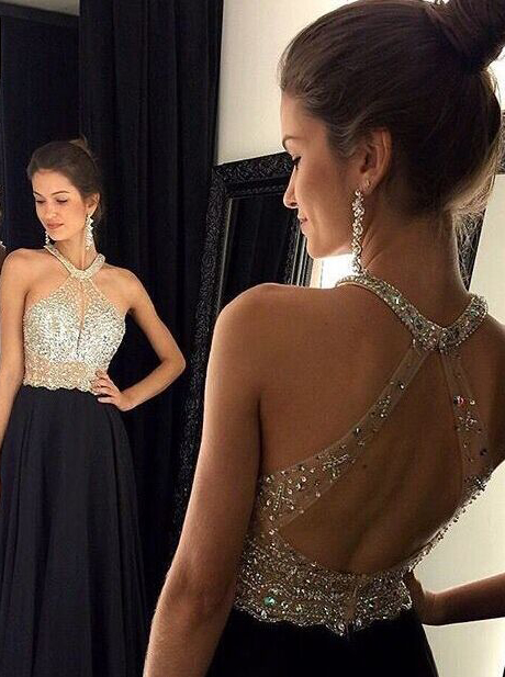 A-Line Halter Open Back Beaded Black Long Chiffon Prom Dress/Evening Dress фото