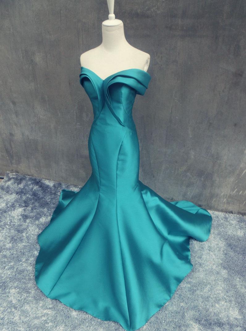 Mermaid Long Prom Dress - Off Shoulder Emerald Green Satin фото