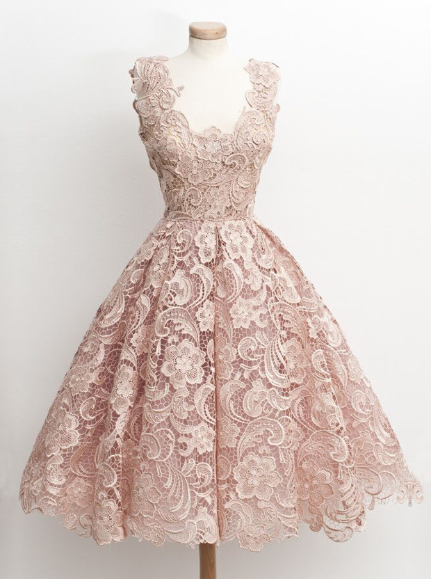 Vintage 50s Style Knee-Length Sleeveless Lace Blush Prom Dress фото