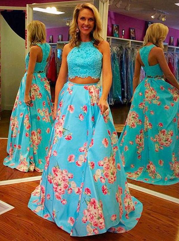 1950s Vintage Two Piece Prom Dress -A-line Bateau Neck Sleeveless with Lace thumbnail