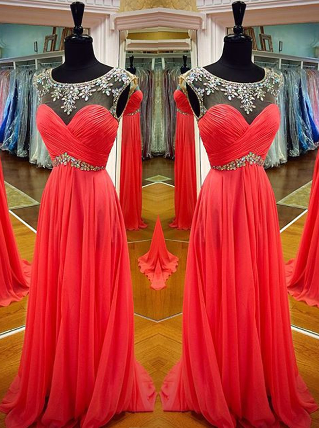 Simple Prom Dress -A-Line Scoop Sleeveless with Rhinstone фото