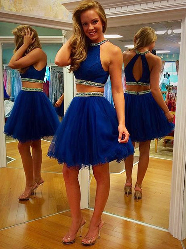 Two Piece Scoop Short Tulle Backless Royal Blue Cocktail Party Prom Homecoming Dress with Beaded фото