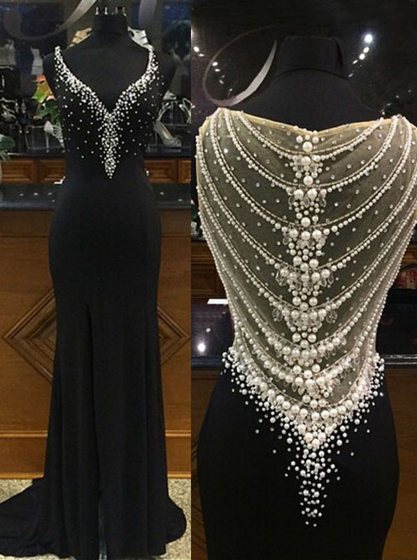Mermaid Deep V-Neck Side-Zipper Black Chiffon Prom Dress with Beading
