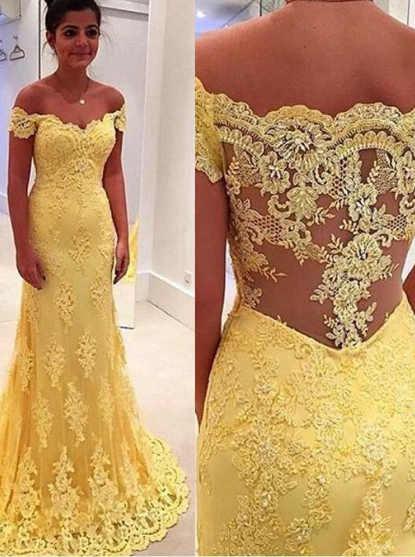 Mermaid Off-the-Shouler Sweep Train Side-Zipper Yellow Tulle Prom Dress with Lace фото