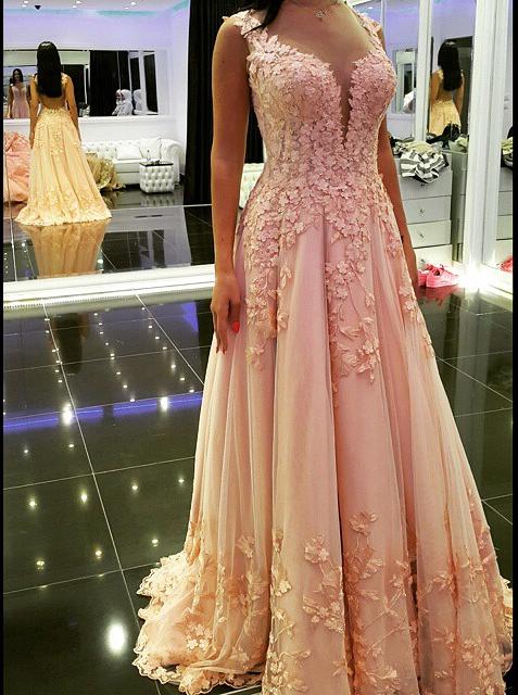 Elegant Long Appliques V-Neck Prom Dress-Tulle Backless Prom Dress, Pink