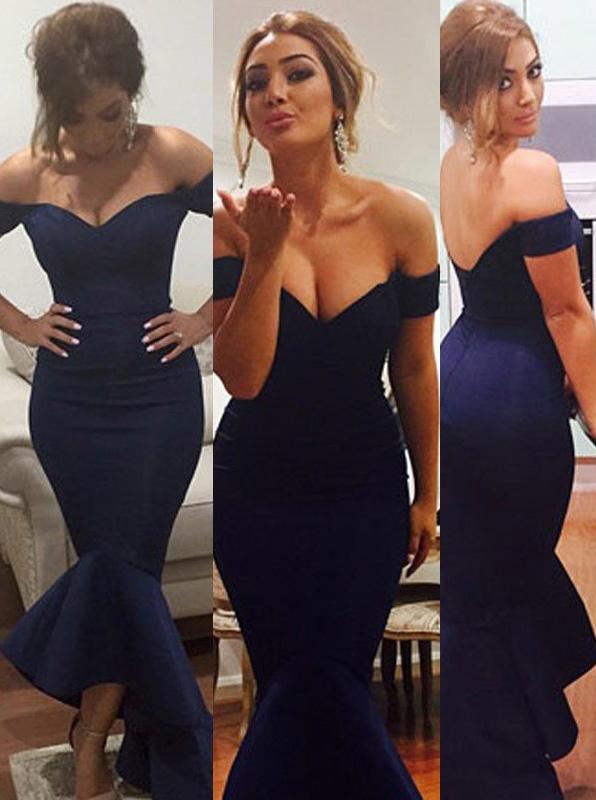 Simple-dress / Mermaid Off-the-shoulder Long Prom Dress-Navy Blue Stretch Satin Prom Dress