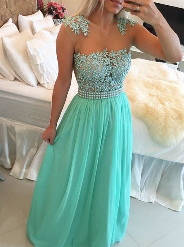 Sexy A-Line Floor-Length Blue Prom Dress With Pearls фото