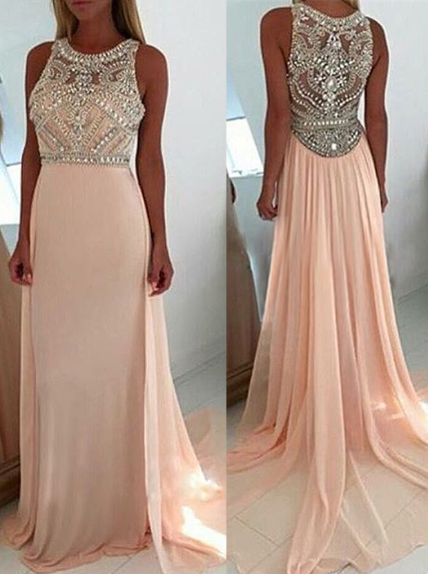 Luxurious Scoop Neck Court Train Pink Prom Dress фото