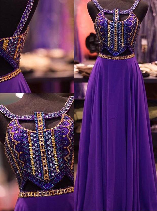 Simple-dress / A-Line Halter Floor-Length Keyhole Open Back Grape Chiffon Prom Dress with Beading