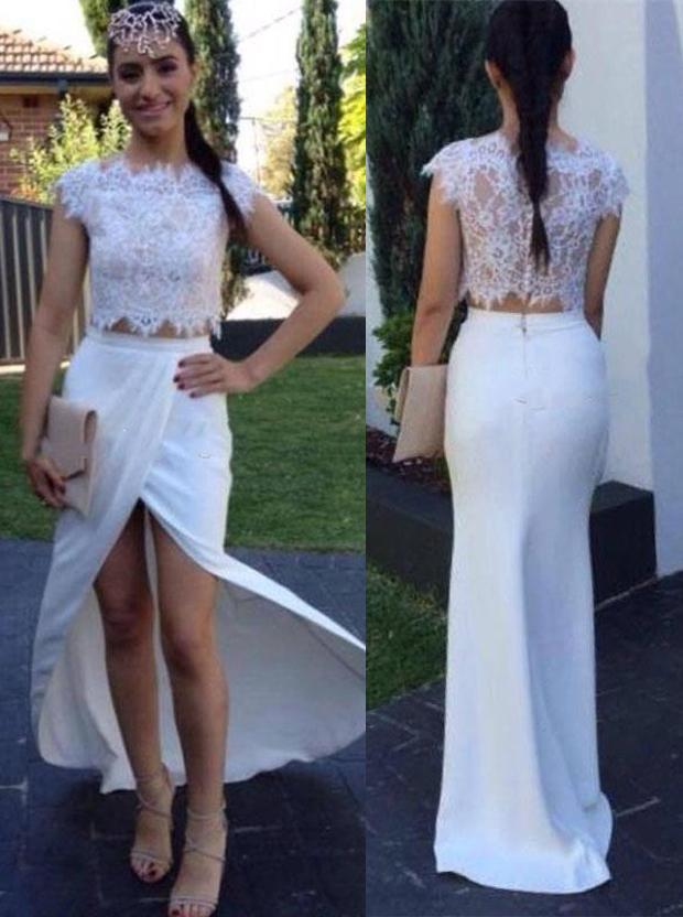 Simple-dress / Two Piece Prom Dress/Evening Dress - White Mermaid Crew Neck Floor Length Cap Sleeves