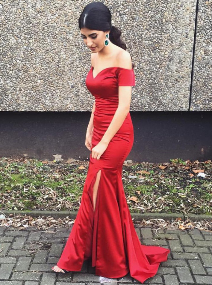 Mermaid Off-the-Shoulder Sweep Train Split-Side Red Stretch Satin Prom Dress