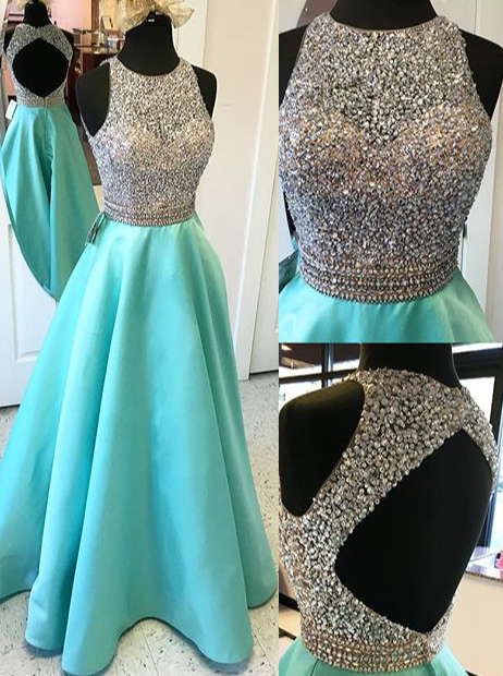 Simple-dress / A-Line Jewel Floor-Length Open Back Green Stretch Satin Prom Dress with Beading
