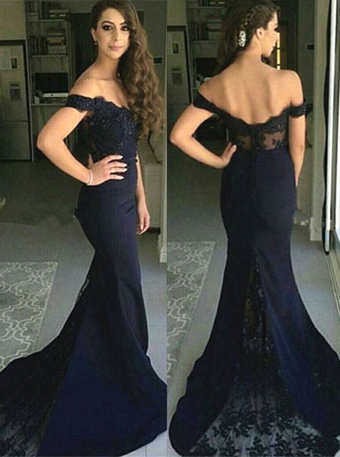 Mermaid Off-the-Shoulder Sweep Train Navy Blue Stretch Satin Prom Dress with Lace