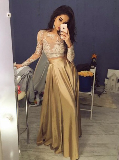 Two Piece Crew Floor-Length Long Sleeves Gold Stretch Satin Prom Dress with Lace, Champagne