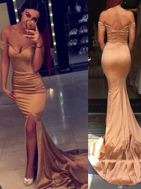 Mermaid Off-the-Shoulder Sweep Train Split-Side Gold Stretch Satin Prom Dress