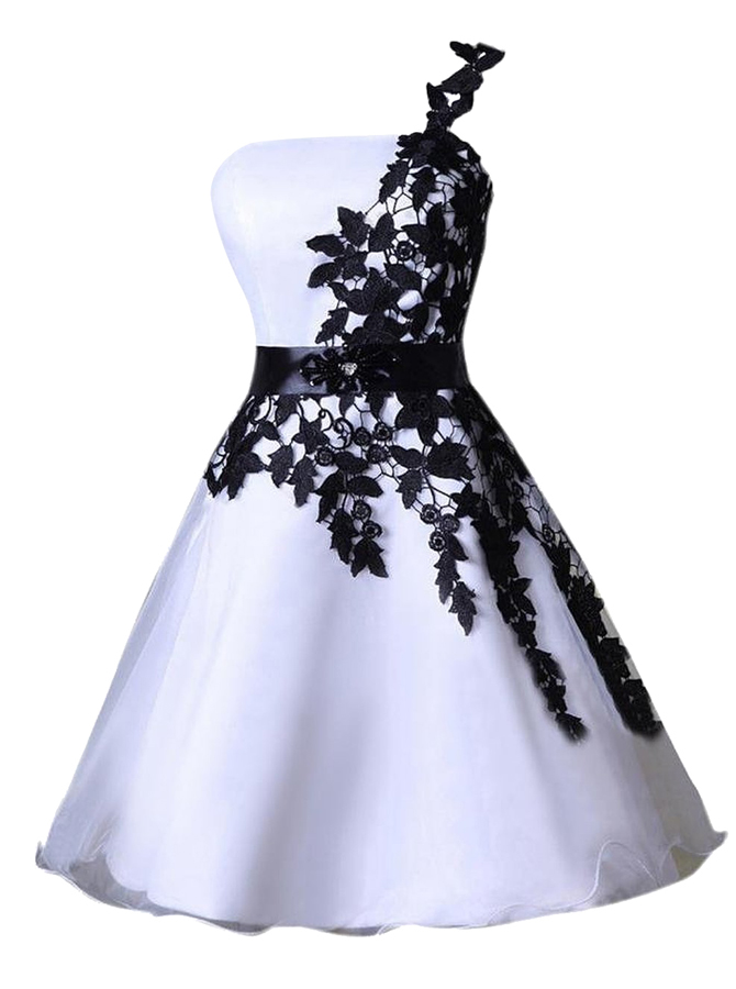 A-Line Strapless Short White Satin Dress with Appliques