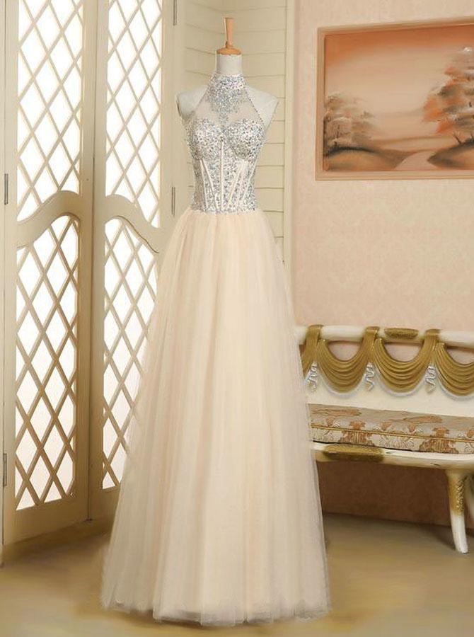 Elegant A-line Halter Neck Beading Sleeveless Tulle Prom Dress фото