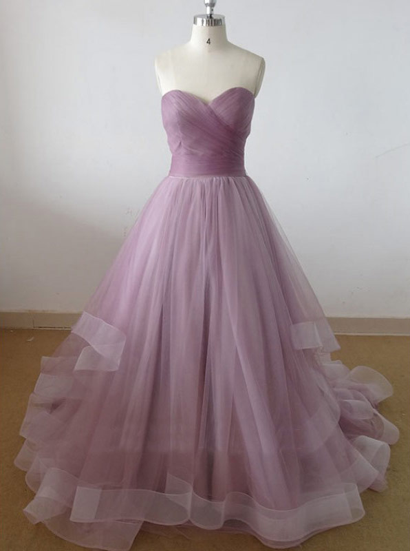 A-Line Sweetheart Floor-Length Lilac Tulle Prom Dress with Pleats фото