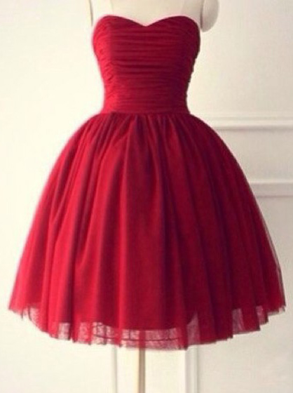 Hot-selling Sweetheart Sleeveless Knee-Length Red Homecoming Dress Ruched фото