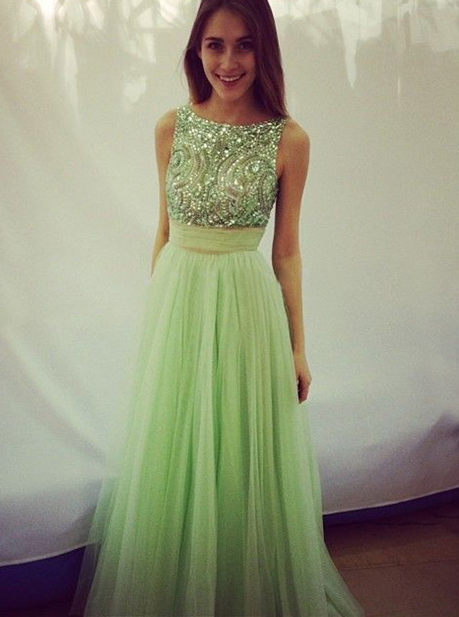 Elegant Scoop Beading A-line Tulle Green Floor-length Prom Dresses Evening Gown фото