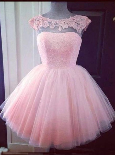Elegant Bateau Pink Short Tulle Homecoming Dress with Appliques Beading фото