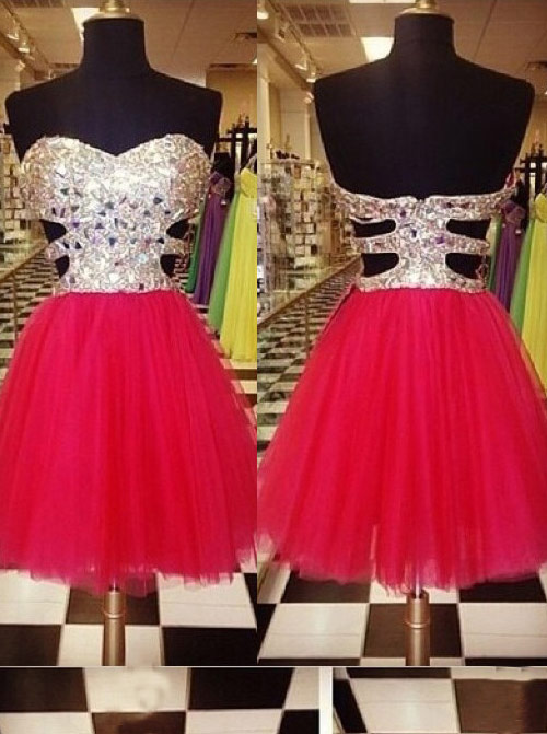 Simple-dress / A-Line Sweetheart Short Red Tulle Homecoming Dress with Sequins