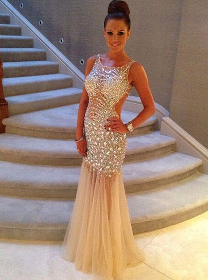 Simple-dress / Sexy Mermaid Scoop Long Sleeveless Tulle Beading Backless Prom/Evening Dress