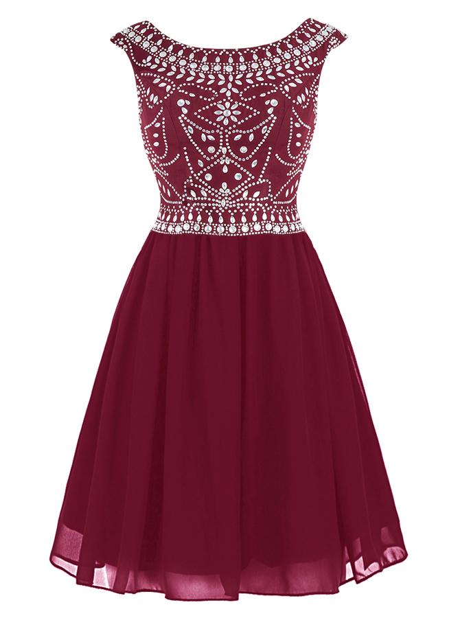 A-Line Bateau Short Burgundy Chiffon Dress with Beading