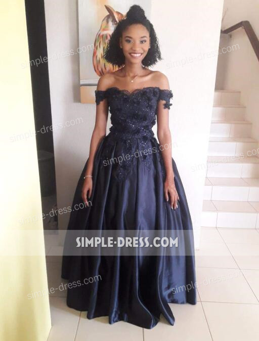 1e2ec06a6092 Ball Gown Off-the-Shoulder Navy Blue Satin Prom Dress with Appliques ...