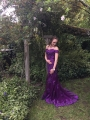 Mermaid Off-the-Shoulder Sweep Train Grape Prom Dress with Sash Lace
