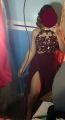 Burgundy Evening/Prom Dress - Floor Length Scoop Chiffon Appliques